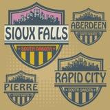 De zegel geplaatste steden Zuid- van Dakota Royalty-vrije Stock Afbeelding