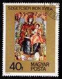 De zegel in Hongarije wordt gedrukt toont beeld van het Szigetcsep-Pictogram dat stock foto