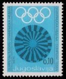 De zegel in Joegoslavië wordt gedrukt toont Olympische week die royalty-vrije stock afbeelding