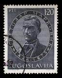 De zegel in Joegoslavië wordt gedrukt toont de 100ste Verjaardag van Svetozar Markovic dat Stock Afbeeldingen