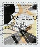 De zegel in Kroatië wordt gedrukt toont Tentoonstelling van Art Deco in Zagreb dat stock foto's