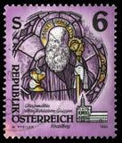 De zegel in Oostenrijk van de Kloosters en Abdijenkwestie wordt gedrukt toont St Benedict van Nursia, Mariastern-Abdij, GW dat Stock Foto