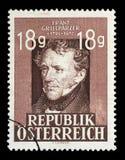De zegel in Oostenrijk wordt gedrukt toont Franz Grillparzer dat Stock Afbeeldingen