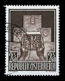 De zegel in Oostenrijk wordt gedrukt toont Symbolisch van de Toelating van Oostenrijk ` s aan de V.N. die stock foto