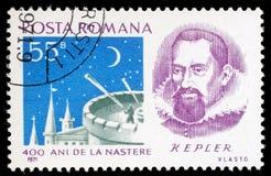 De zegel in Roemenië wordt gedrukt toont portret van Johannes Kepler dat Royalty-vrije Stock Afbeelding