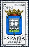 De zegel in Spanje gewijd aan Wapens van Provinciale Kapitalen wordt gedrukt toont Logrono die stock afbeelding