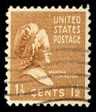De zegel toont portret Martha Dandridge Custis Washington Stock Afbeeldingen