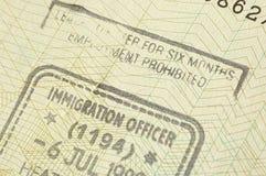 De zegel van de immigratie stock foto's