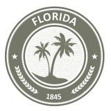 De zegel van Florida - etiket met palmen Stock Foto's