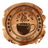 De zegel van het koffiehuis op een waterverfachtergrond Stock Afbeeldingen