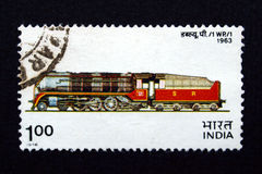 De zegel van India met trein Royalty-vrije Stock Afbeelding