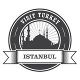 De zegel van Istanboel met silhouet van moskee Royalty-vrije Stock Foto