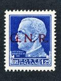 1943 de zegel van Italië: Lire 1.25 overdrukt GNR Stock Afbeelding