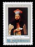 De zegel van Roemenië toont beeld van Demetrius Ralet stock foto