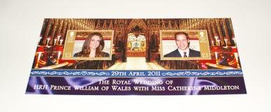 De zegelblad van het Eiland Man op Koninklijk Huwelijk 2011. Royalty-vrije Stock Foto's