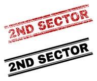 De Zegeldrukken van de Grunge Geweven en Schone 2ND SECTOR vector illustratie