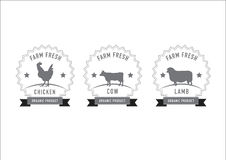 De zegels en de etiketten van het slachterijvlees Vector Illustratie
