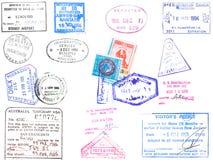 De zegels en het visum van het paspoort Stock Foto