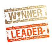 De zegels van de winnaar en van de Leider. Stock Foto