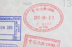 De zegels van het het visumpaspoort van China Stock Afbeeldingen
