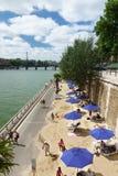 De Zegen riverbank Parijs Frankrijk van het zandstrand royalty-vrije stock fotografie