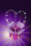 De zegen van hartster die van giftdoos vliegt Royalty-vrije Stock Afbeeldingen