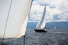 De zeilboot die van de luxecruise op het overzees varen stock foto's