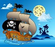 De zeilboot van de piraat met eilandsilhouet royalty-vrije illustratie