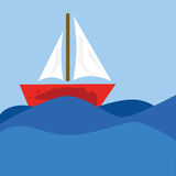 De zeilboot van het beeldverhaal Stock Afbeelding