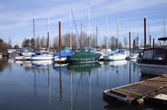 De zeilboten legden in een jachthaven, Portland vast OF. Stock Afbeeldingen