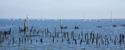 De Zeilbotenpanorama van Jersey stock afbeelding