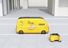 De zelf-drijft bestelwagen van de pizzalevering en hommel in de straat stock illustratie
