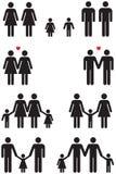 De zelfde Pictogrammen van de Geslachtsfamilie (vrolijk huwelijk) Stock Fotografie