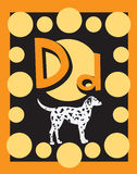 De zelfstandige naamwoorden van de Brief D van de Kaart van de flits royalty-vrije illustratie