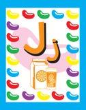 De zelfstandige naamwoorden van de Brief J van de Kaart van de flits royalty-vrije illustratie