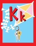 De zelfstandige naamwoorden van de Brief K van de Kaart van de flits. royalty-vrije illustratie