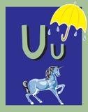 De zelfstandige naamwoorden van de Brief U van de Kaart van de flits stock illustratie