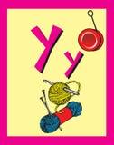 De zelfstandige naamwoorden van de Brief Y van de Kaart van de flits royalty-vrije illustratie