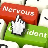 De zenuwachtige Bezorgde Sleutels toont Zenuwen of Bange Online stock illustratie