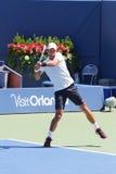 De zes keer Grote praktijken van Novak Djokovic van de Slagkampioen voor US Open 2014 Royalty-vrije Stock Foto