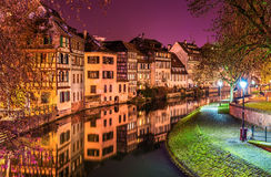 De Zieke rivier op Petite France -gebied, Straatsburg Royalty-vrije Stock Foto