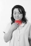 De zieke vrouw lijdt aan koude, griep Royalty-vrije Stock Foto's