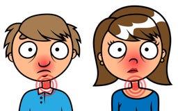 De zieken van de man en van de vrouw met griep Stock Foto