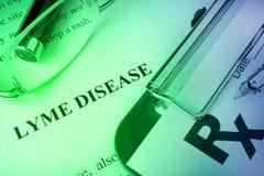 De ziekte van diagnoselyme op een pagina wordt geschreven die Stock Afbeelding