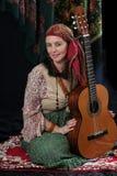 De zigeuner met een gitaar Royalty-vrije Stock Afbeelding