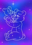 De zij-beer van de constellatie en weinig Beer Stock Afbeeldingen