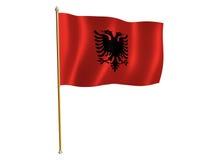 De zijdevlag van Albanië Stock Afbeelding