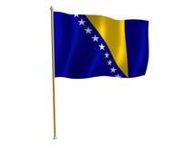 De zijdevlag van Bosnië-Herzegovina Stock Afbeeldingen