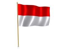 De zijdevlag van Indonesië Stock Fotografie