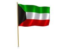 De zijdevlag van Koeweit Stock Afbeeldingen